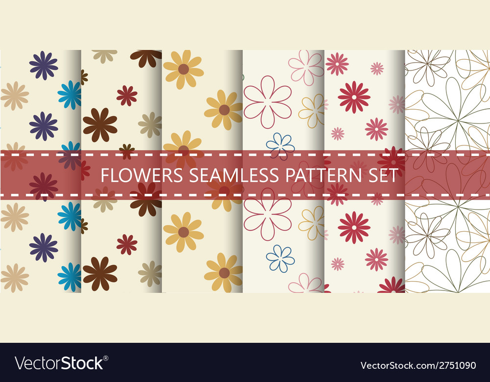 Flowers seamless pattern set vector | Price: 1 Credit (USD $1)
