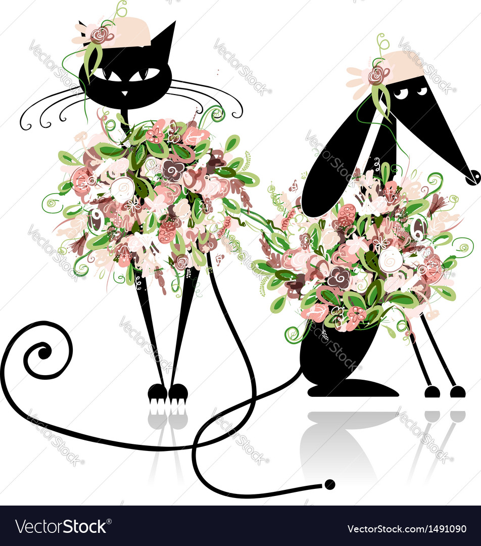 Glamor cat and dog in floral clothes for your vector | Price: 1 Credit (USD $1)