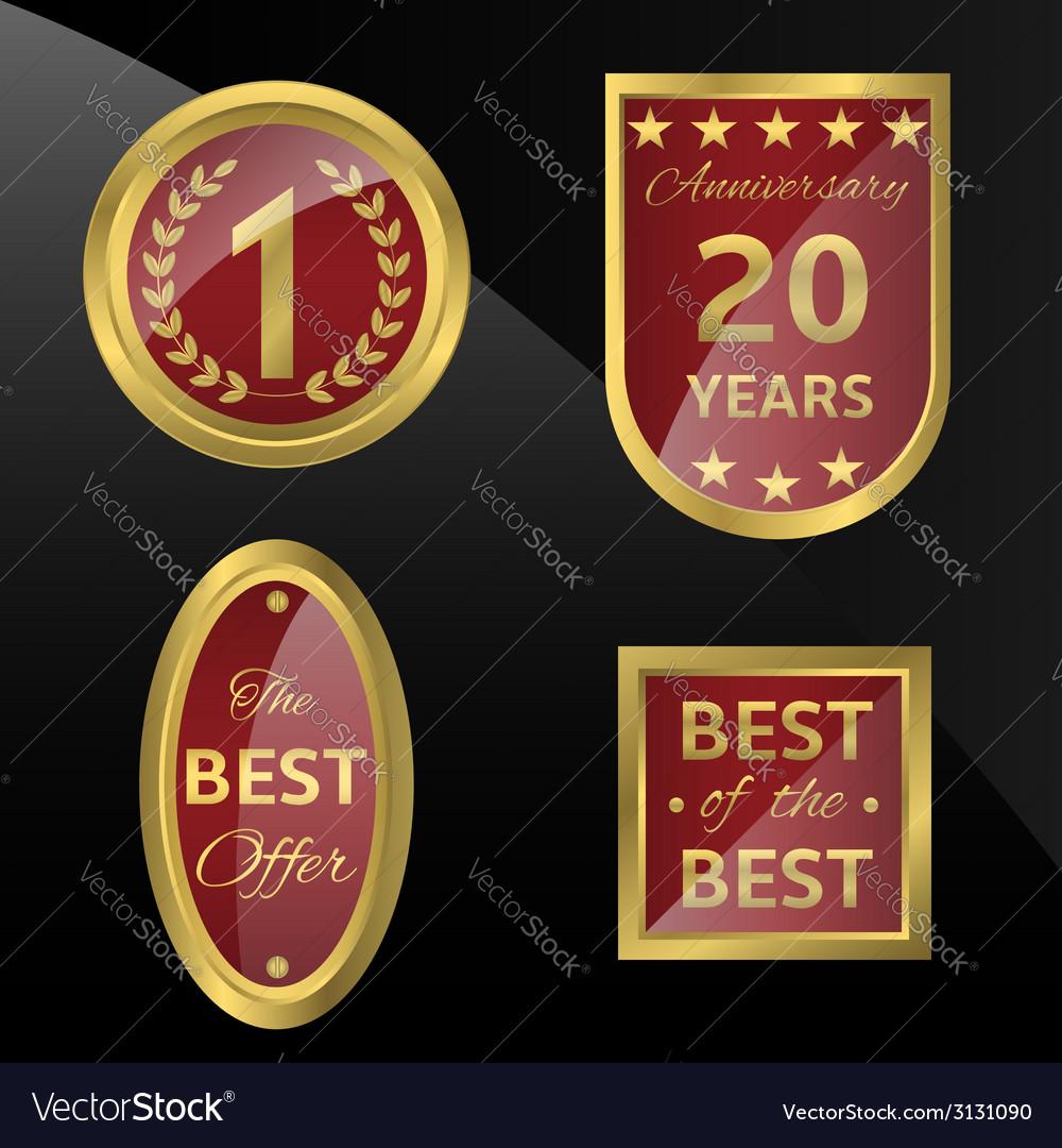Golden badges vector | Price: 1 Credit (USD $1)