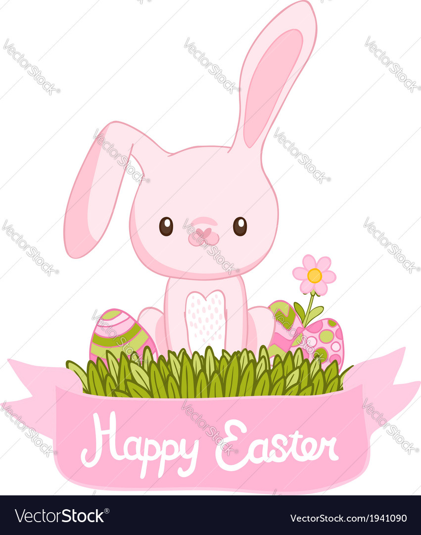 Happy easter cartoon cute bunny and eggs with vector | Price: 1 Credit (USD $1)