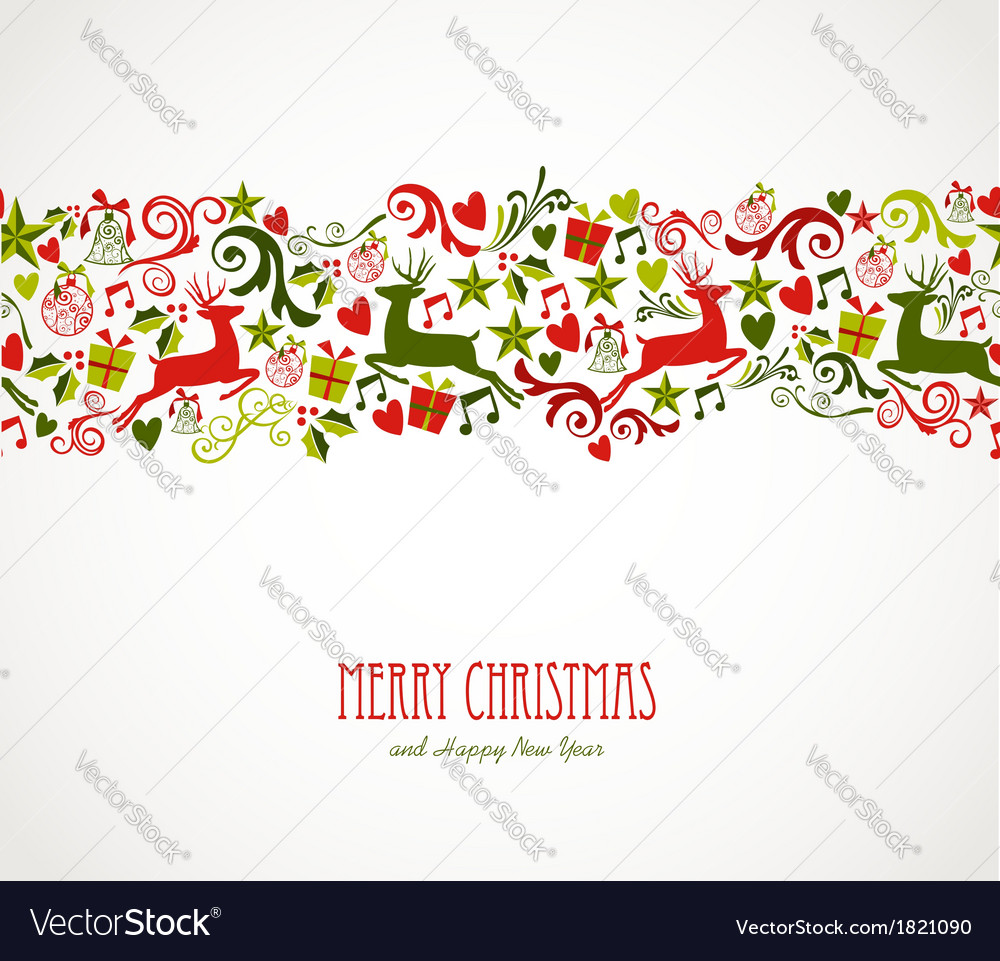 Merry christmas decorations elements border vector | Price: 1 Credit (USD $1)