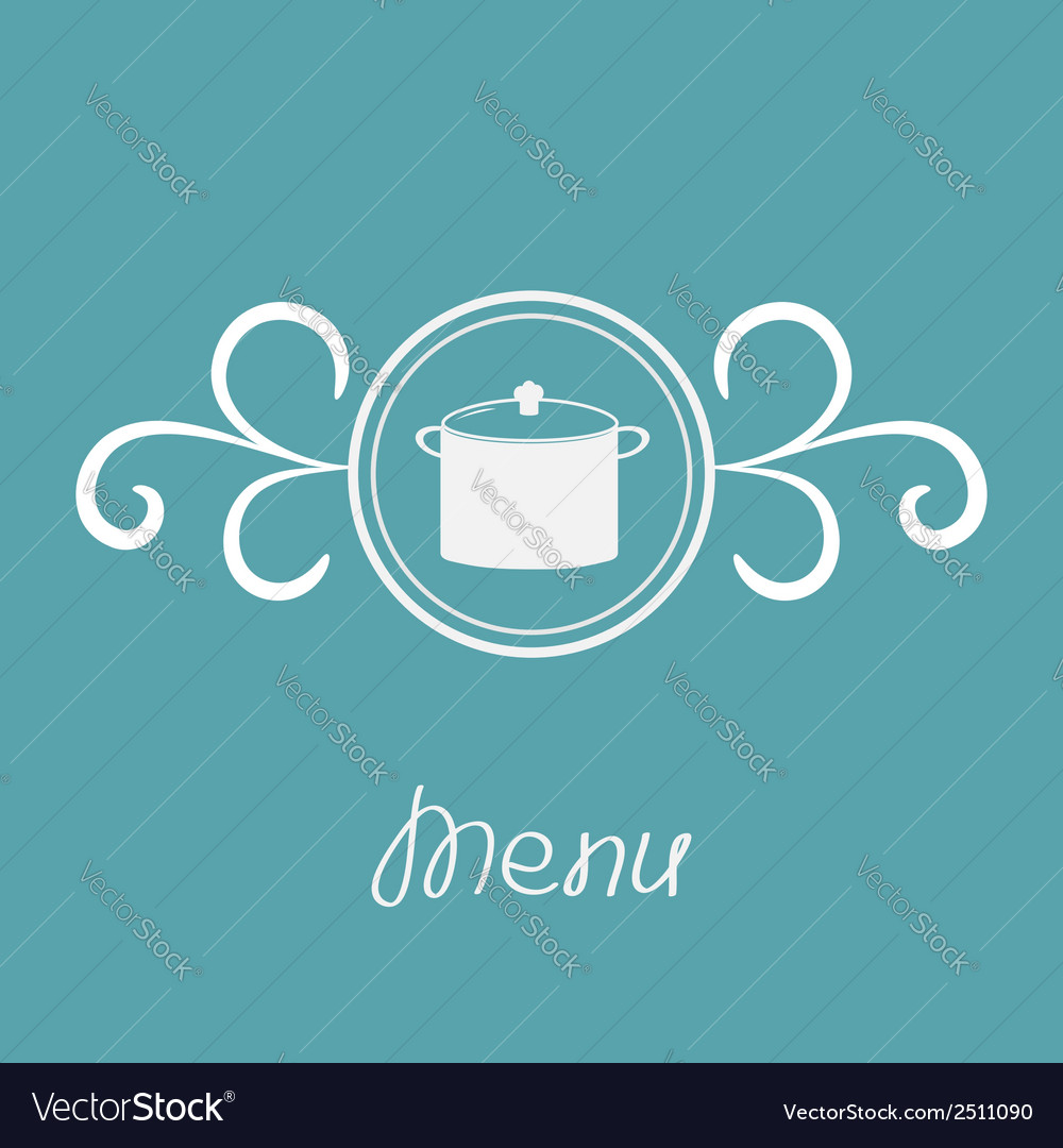 Saucepan and round frame with calligraphic design vector | Price: 1 Credit (USD $1)