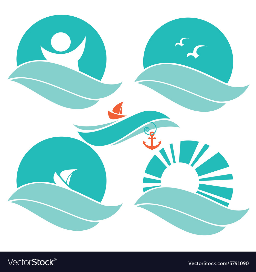 Sea symbols vector | Price: 1 Credit (USD $1)
