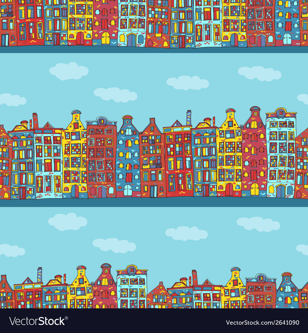 Seamless amsterdam holland background vector | Price: 1 Credit (USD $1)