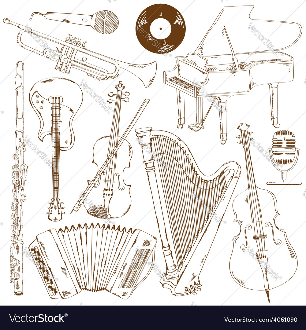 Set of isolated sketch musical instruments vector | Price: 1 Credit (USD $1)