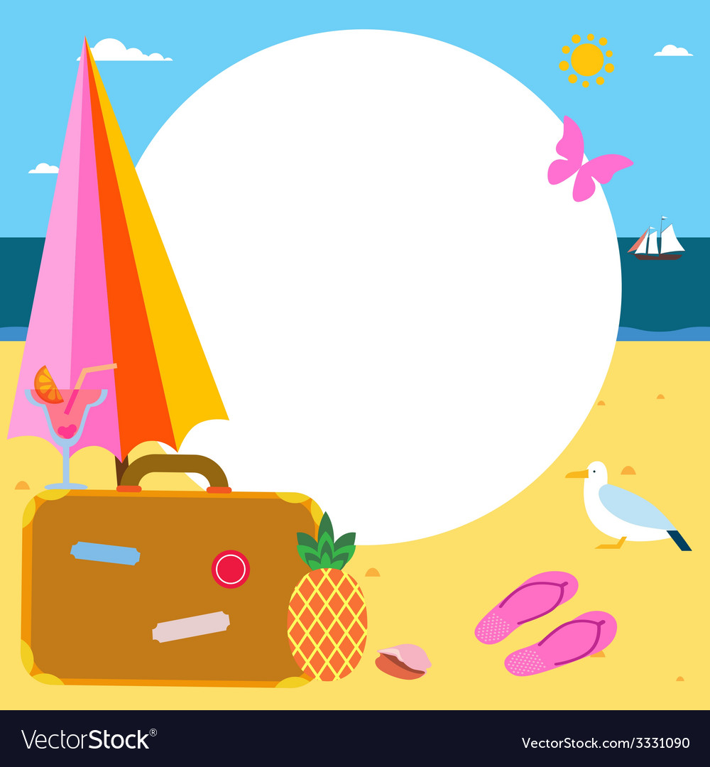 Summer vacations frame design vector | Price: 1 Credit (USD $1)