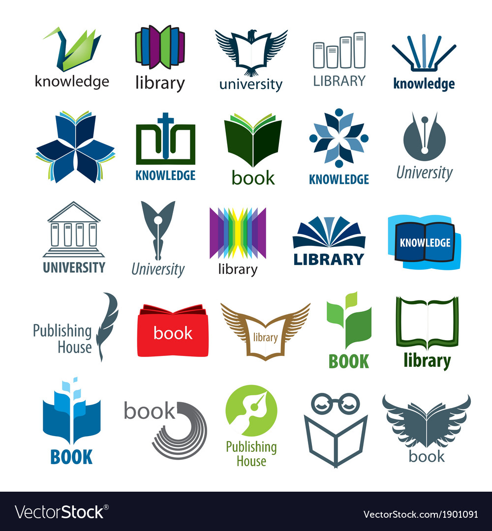 Biggest collection of logos books and pens vector
