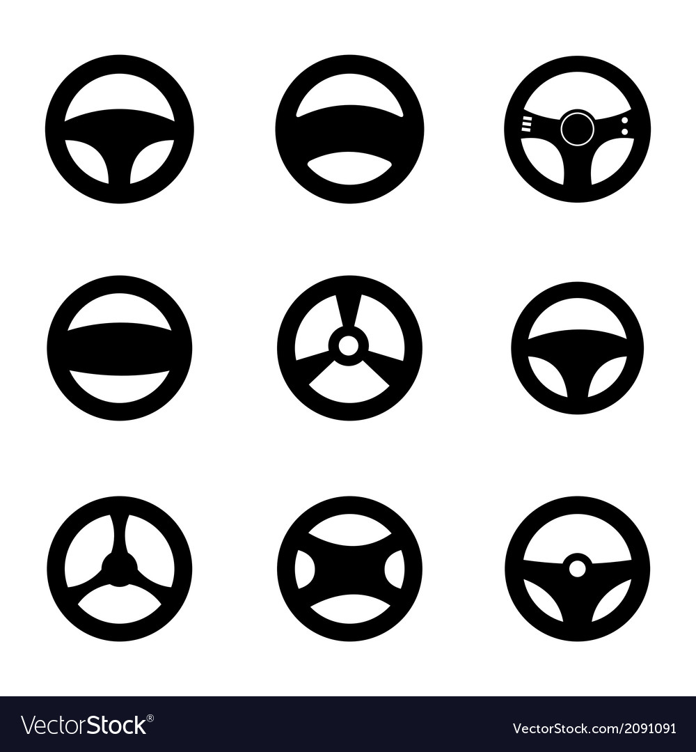 Black steering wheels icons set vector | Price: 1 Credit (USD $1)