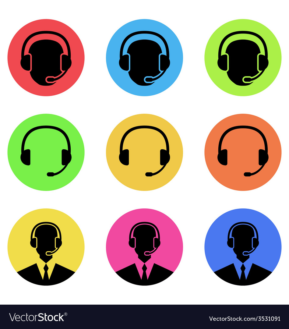 Colorful icons of call center and operator in vector | Price: 1 Credit (USD $1)