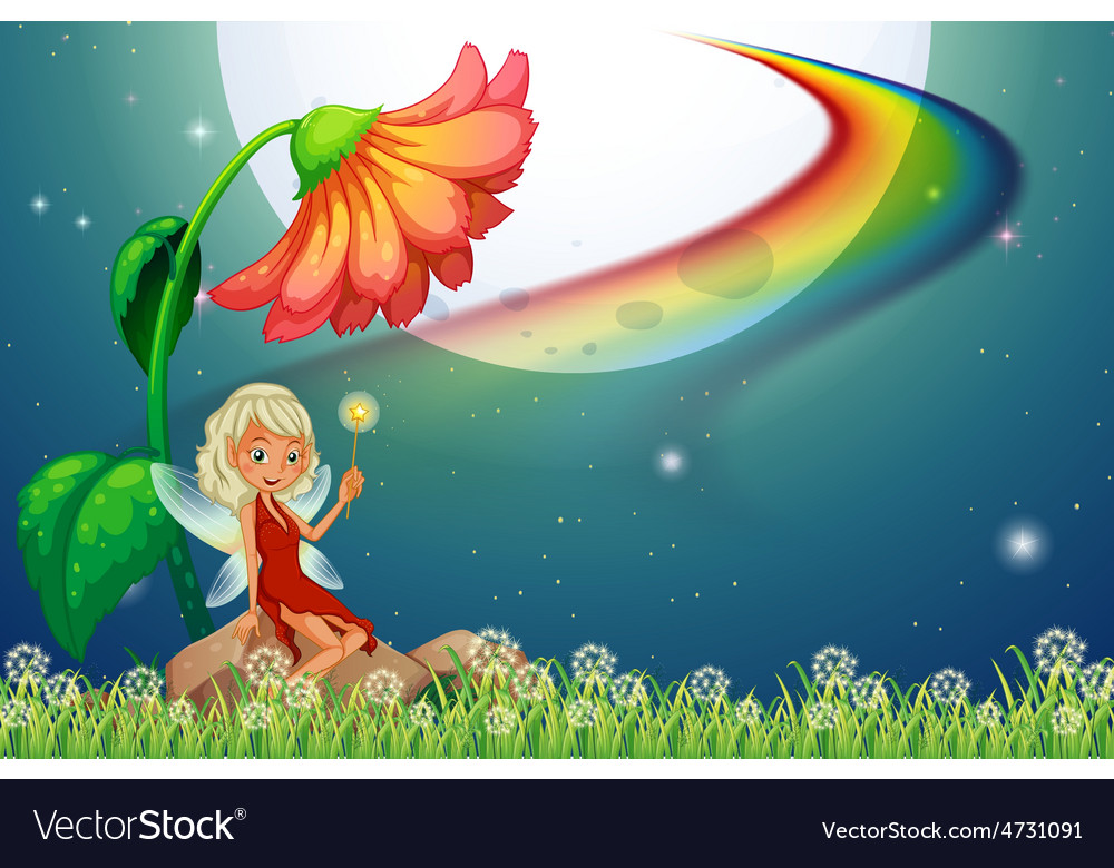 Fairy and flower vector | Price: 3 Credit (USD $3)
