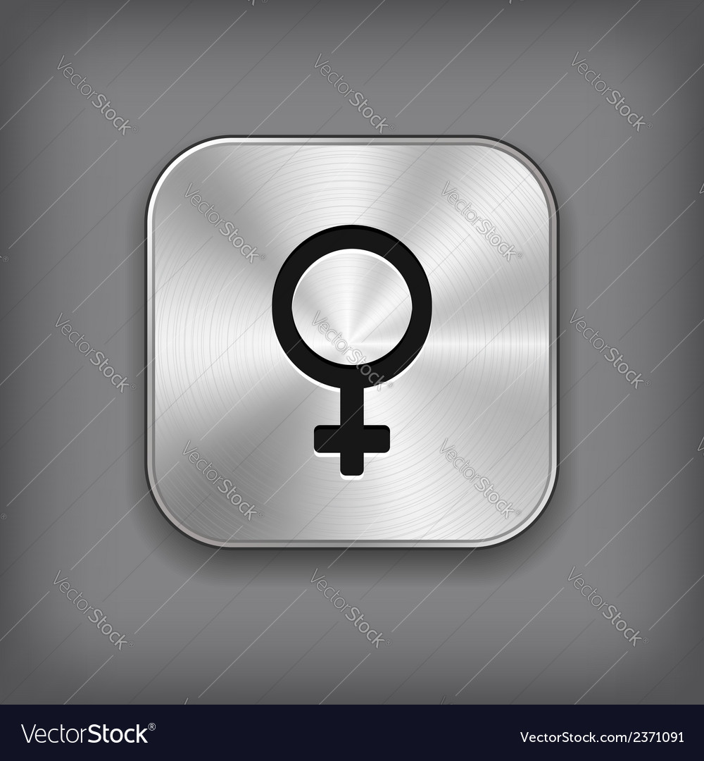 Female icon - metal app button vector | Price: 1 Credit (USD $1)