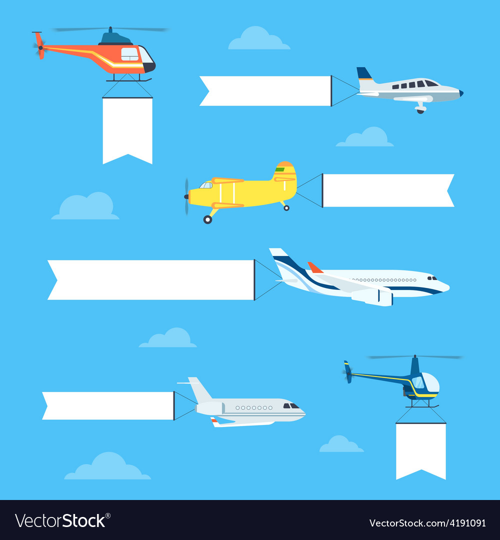 Flat airplanes set vector | Price: 1 Credit (USD $1)