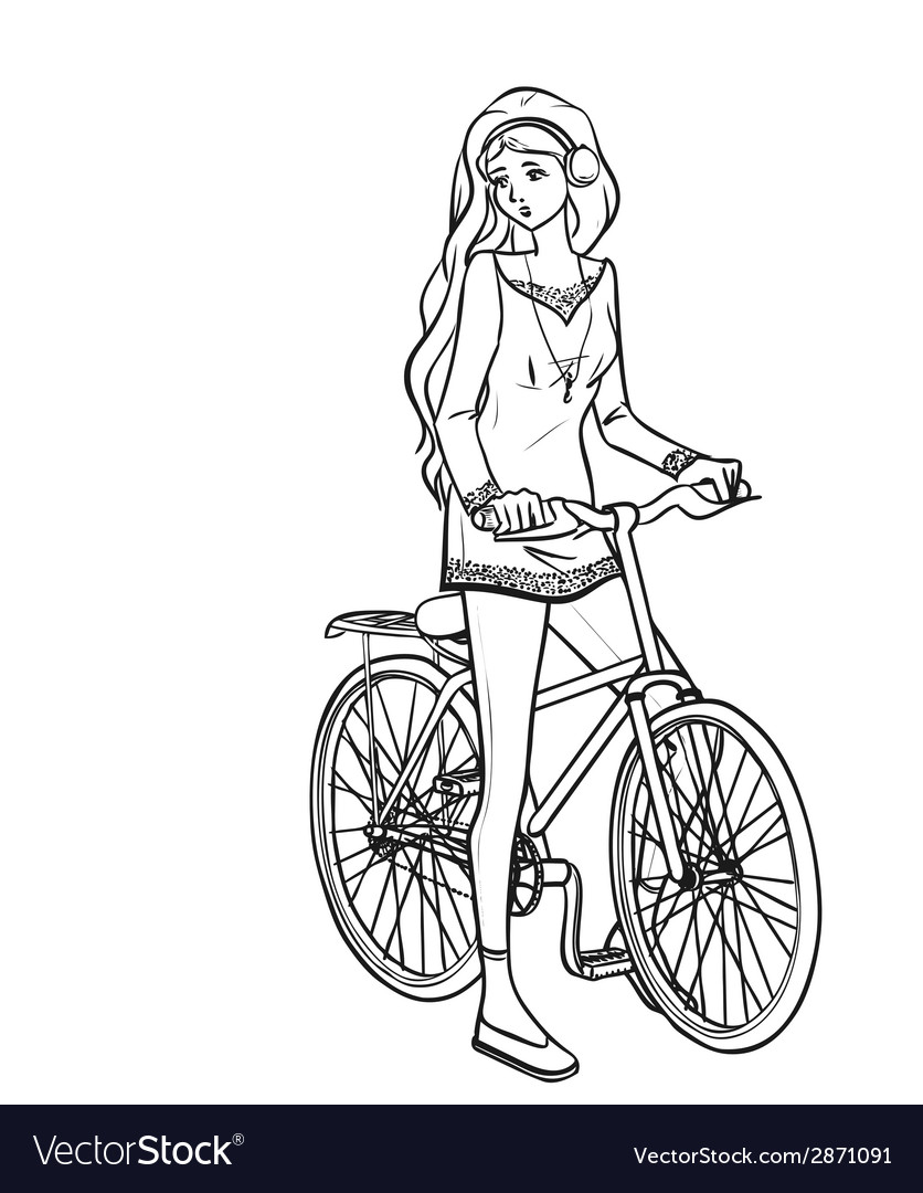 Girl and bicycle vector | Price: 1 Credit (USD $1)