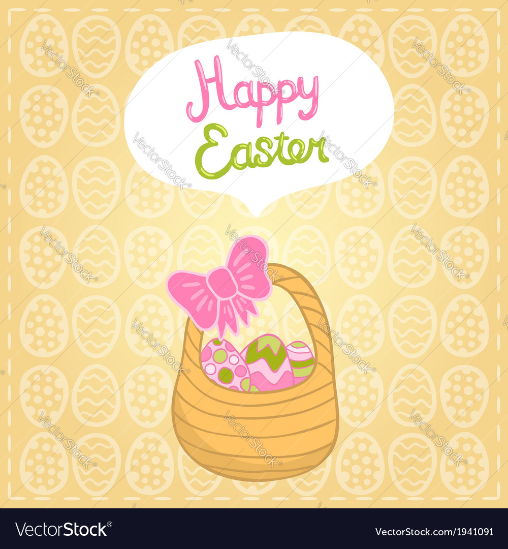 Happy easter background with cartoon cute basket vector | Price: 1 Credit (USD $1)