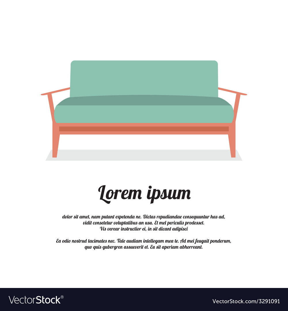 Modern sofa vintage style vector | Price: 1 Credit (USD $1)