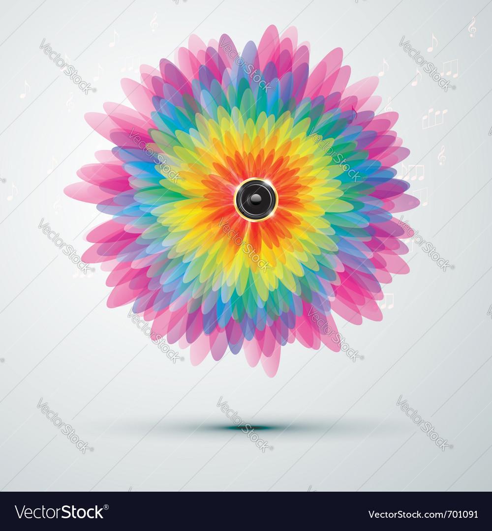 Rainbow music flower vector   Price: 1 Credit (USD $1)