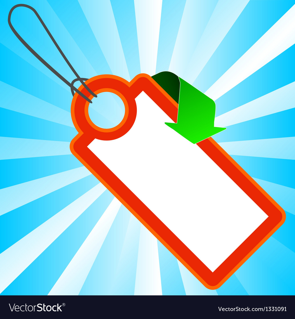 Red price tag with arrow vector | Price: 1 Credit (USD $1)