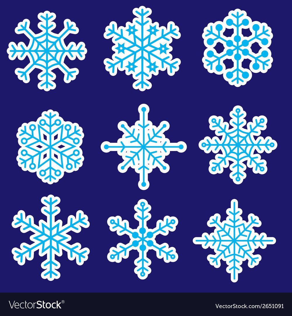 Snowflakes stickers icons eps10 vector | Price: 1 Credit (USD $1)
