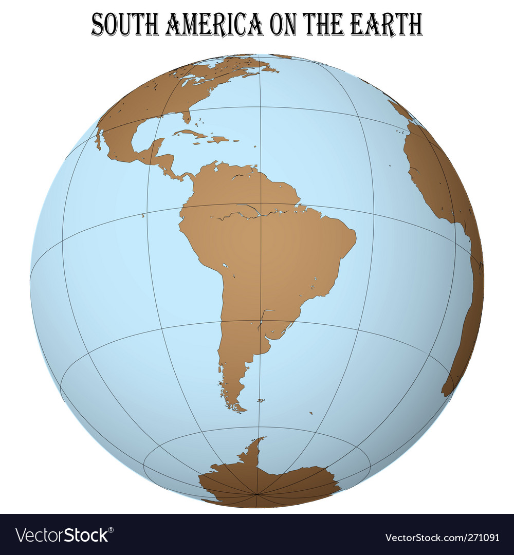 South america globe vector | Price: 1 Credit (USD $1)