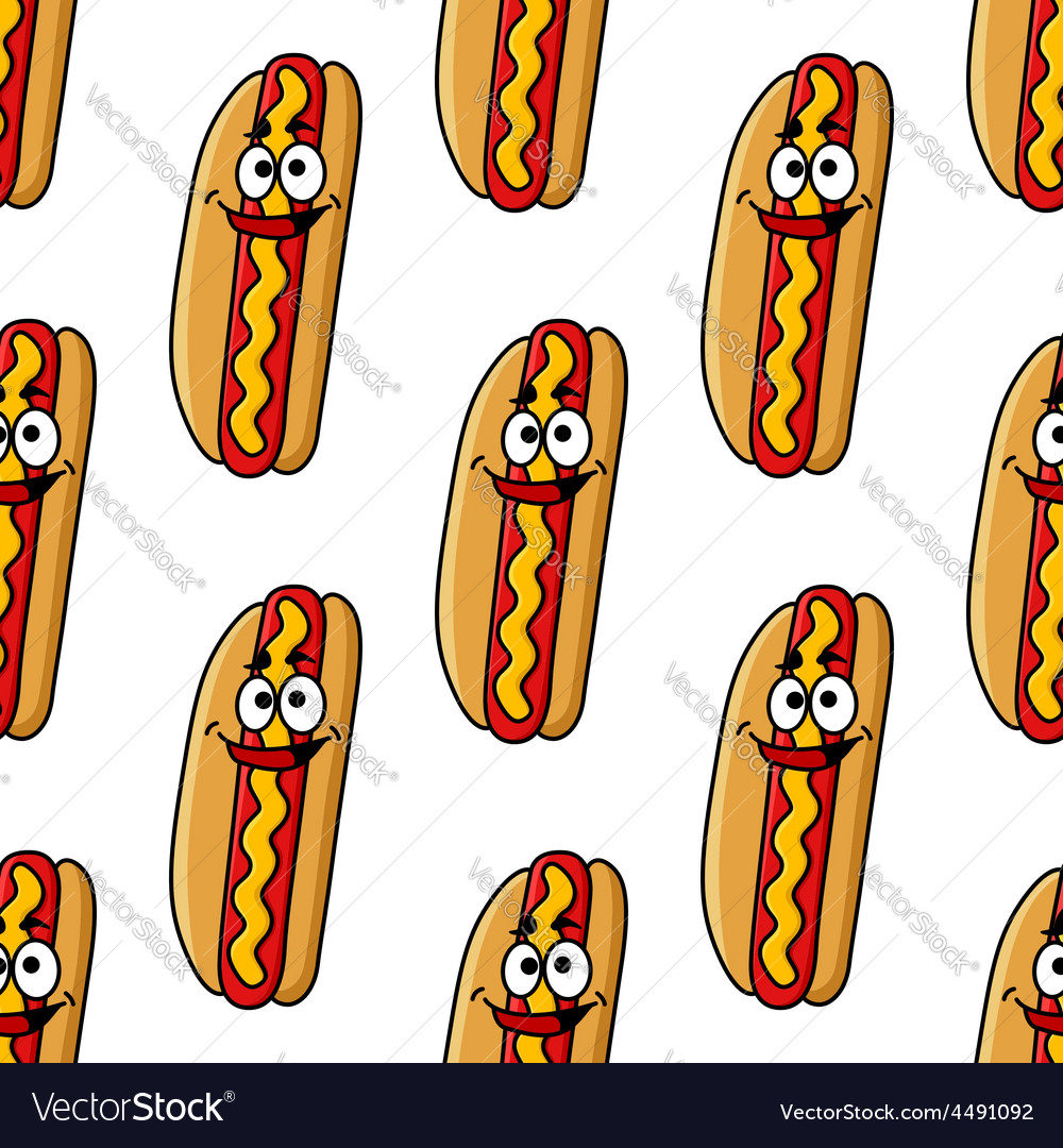 Funny hot dog characters seamless pattern vector | Price: 1 Credit (USD $1)