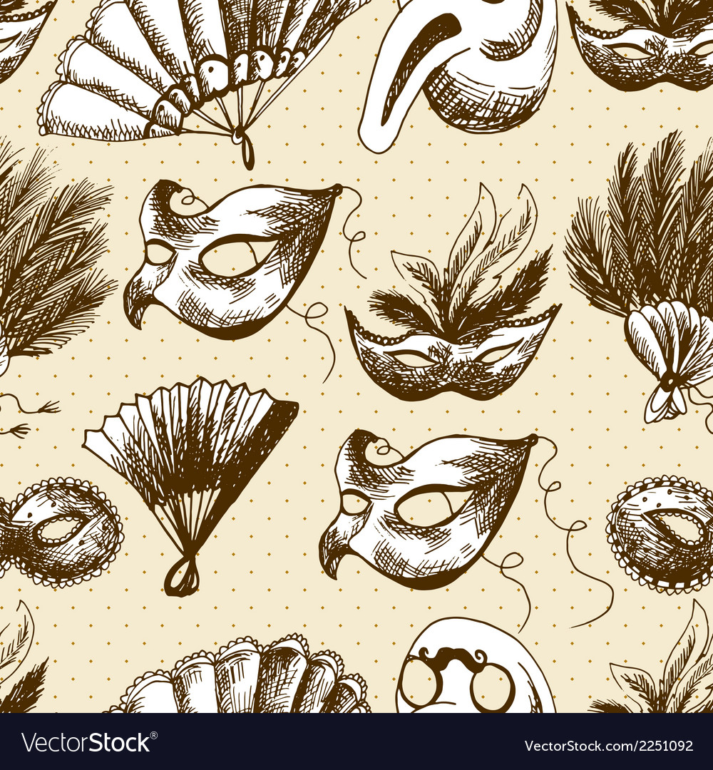 Hand drawn carnival seamless background vector | Price: 1 Credit (USD $1)
