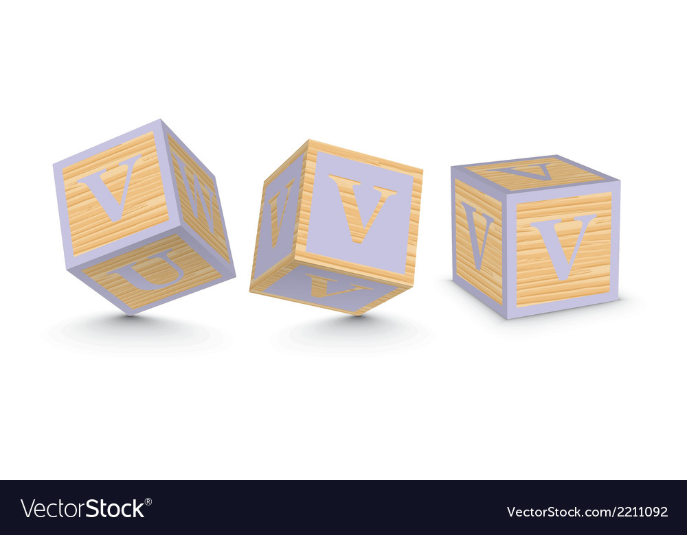 Letter v wooden alphabet blocks vector | Price: 1 Credit (USD $1)