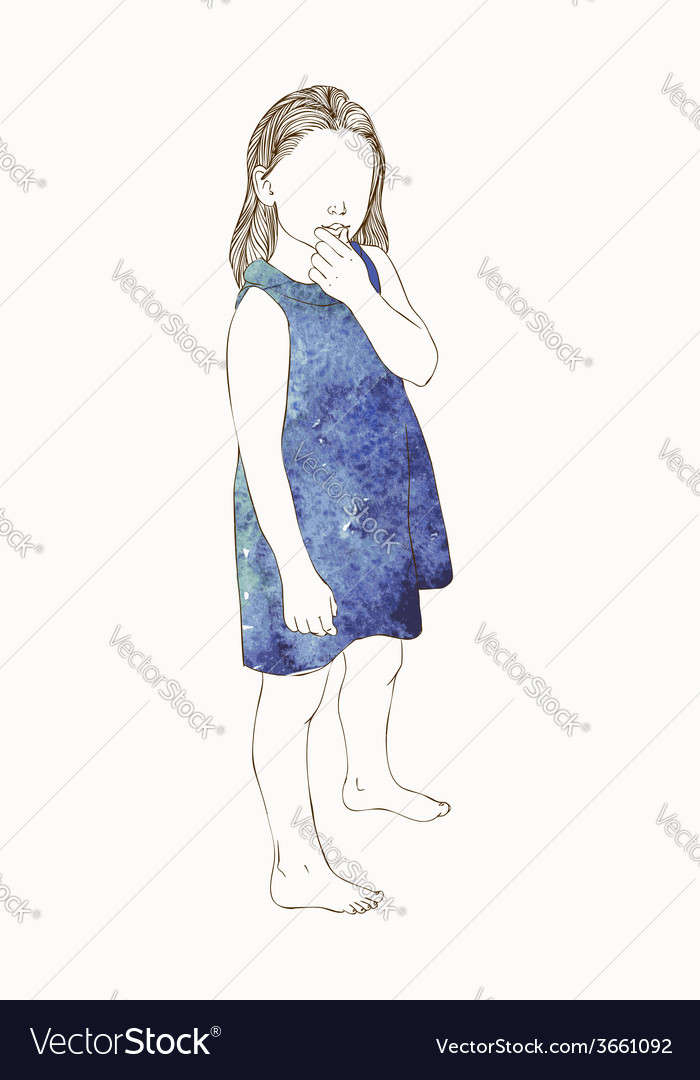 Little girl in a watercolor dress sitting vector | Price: 1 Credit (USD $1)