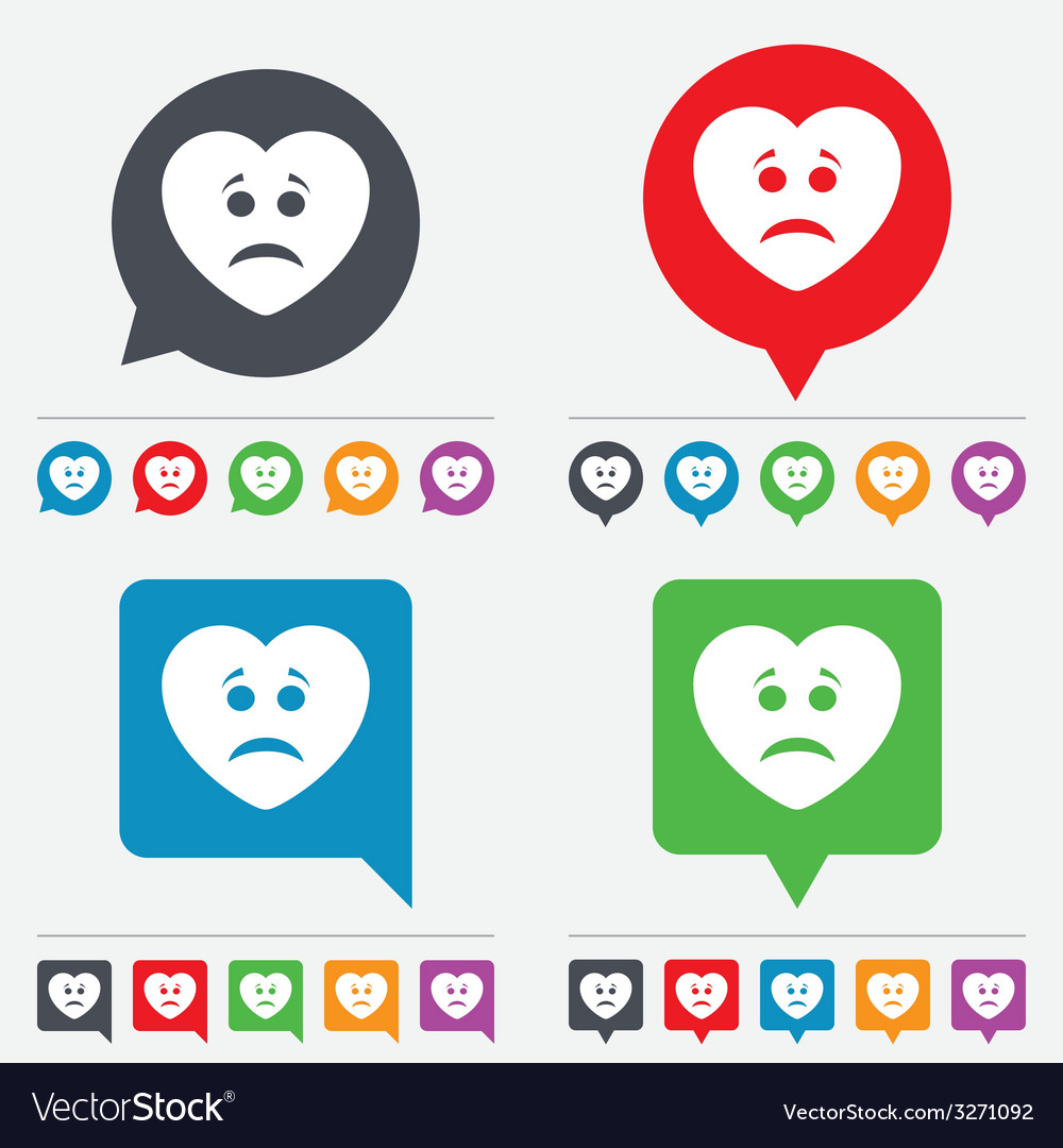 Sad heart face sign icon sadness symbol vector | Price: 1 Credit (USD $1)