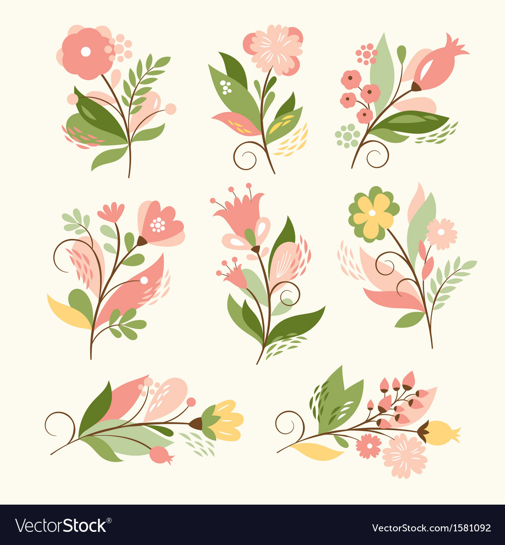 Set of beauty floral bouquets vector | Price: 3 Credit (USD $3)