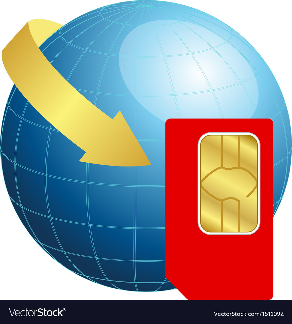 Sim card with globe and arrow vector | Price: 1 Credit (USD $1)
