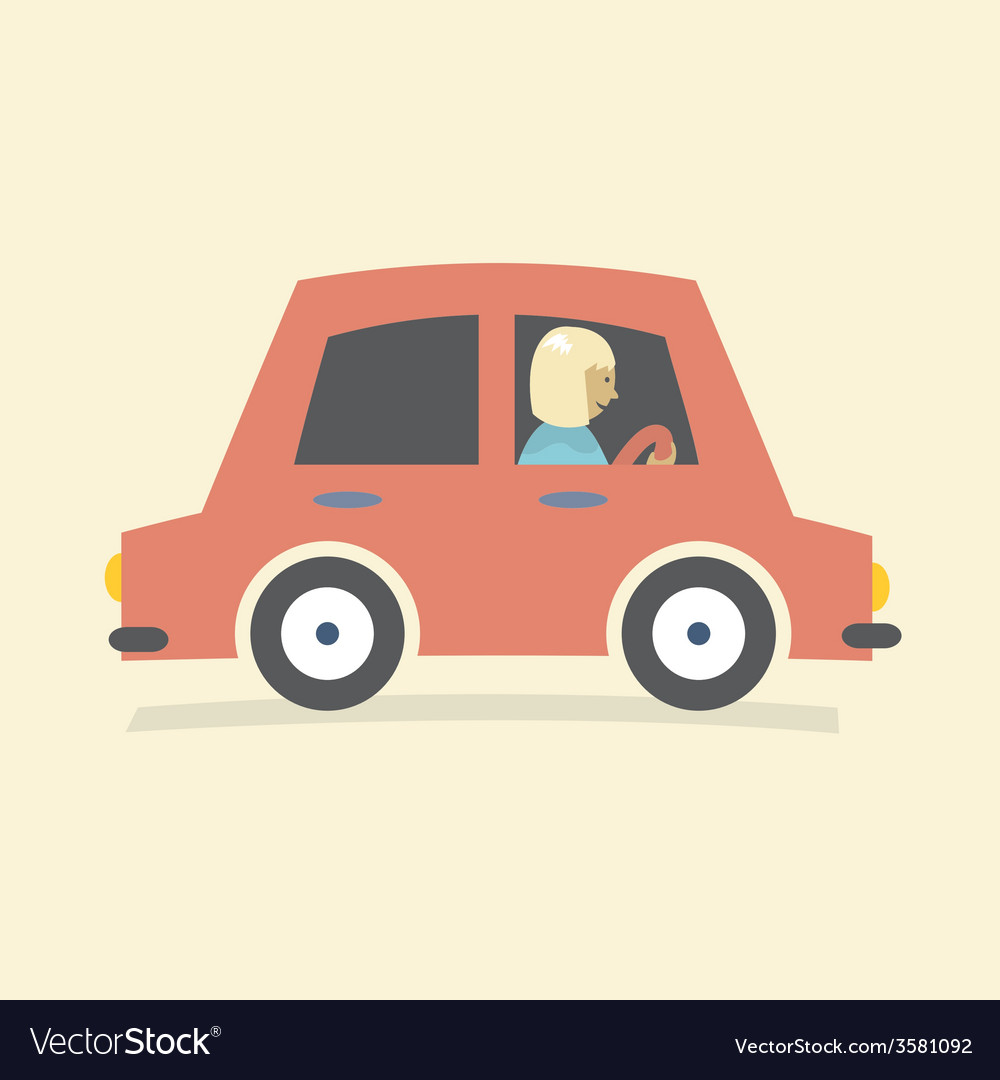 Single woman drive a car vector | Price: 1 Credit (USD $1)
