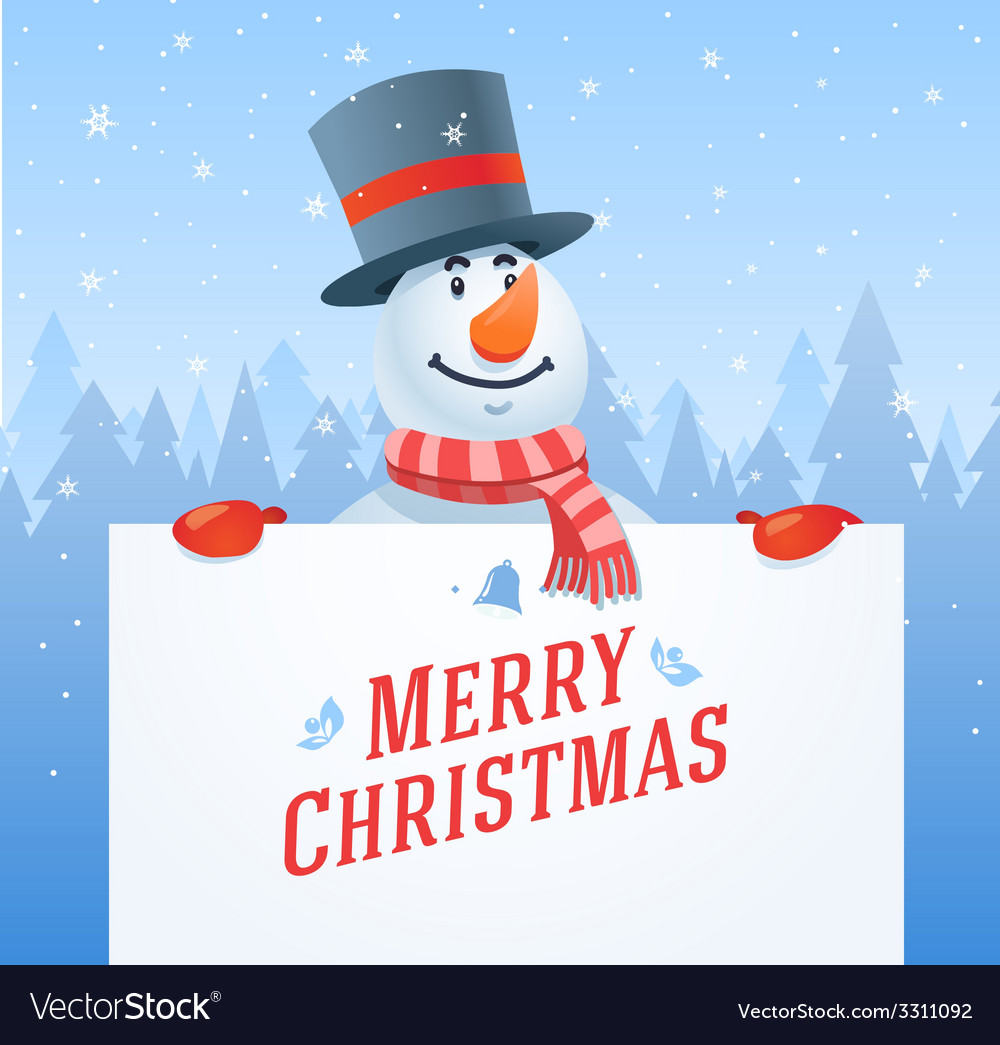 Snowman with banner christmas background vector | Price: 1 Credit (USD $1)