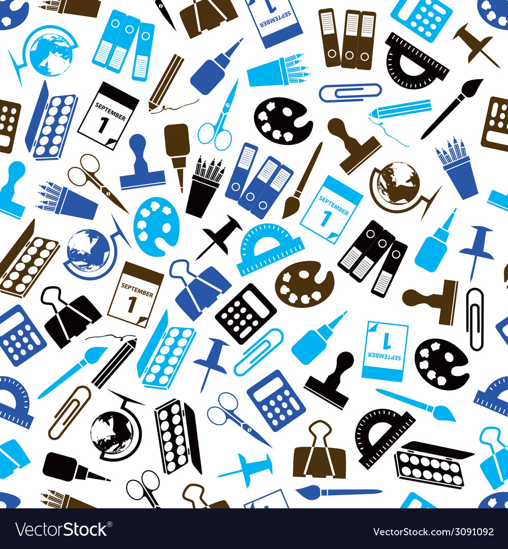 Stationery seamless pattern vector   Price: 1 Credit (USD $1)