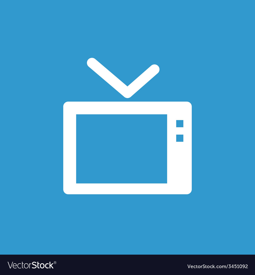 Tv icon white on the blue background vector | Price: 1 Credit (USD $1)