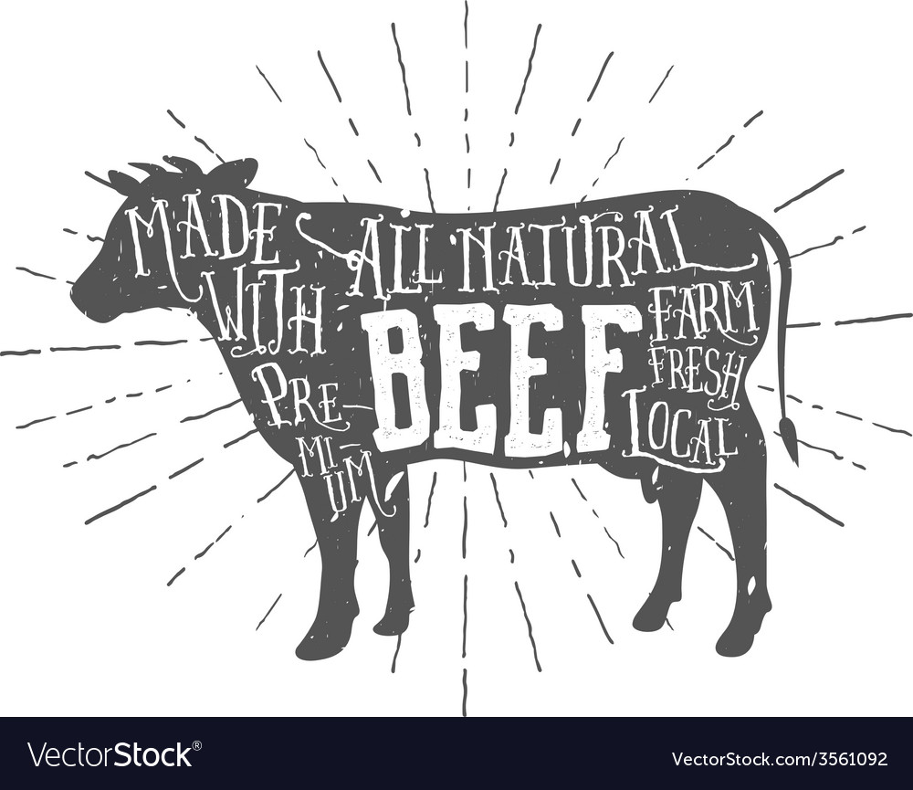 Vintage premium beef typographic label vector | Price: 1 Credit (USD $1)