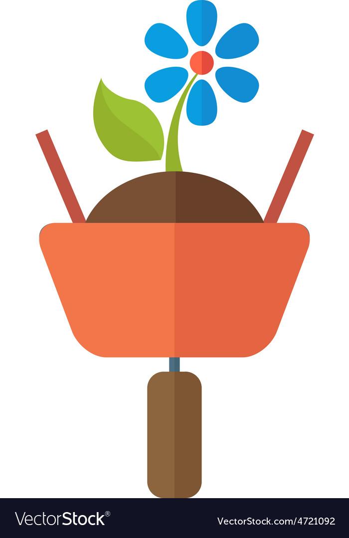 Wheelbarrow with plant vector   Price: 1 Credit (USD $1)