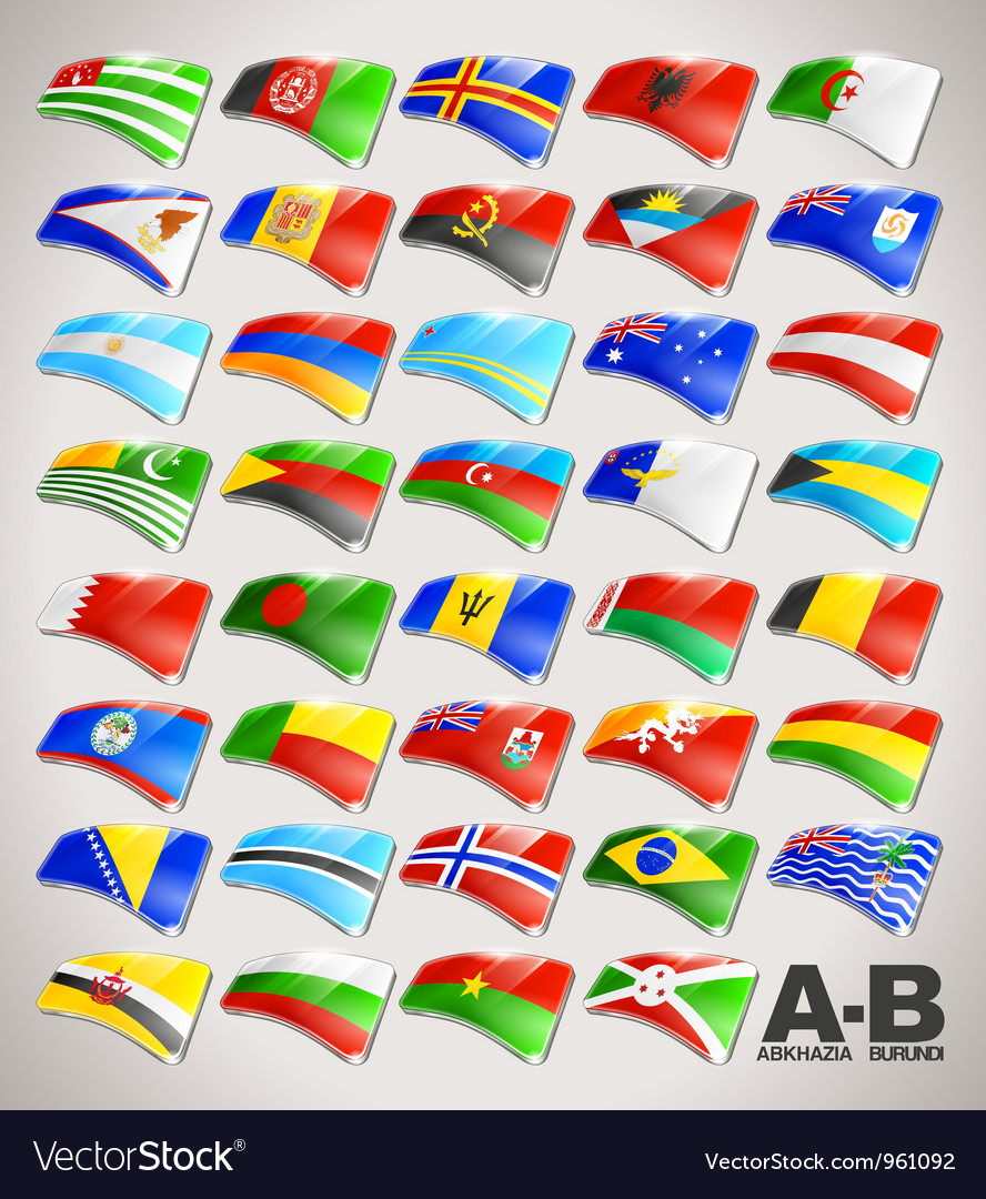 World flags icon collection from a to b vector | Price: 1 Credit (USD $1)