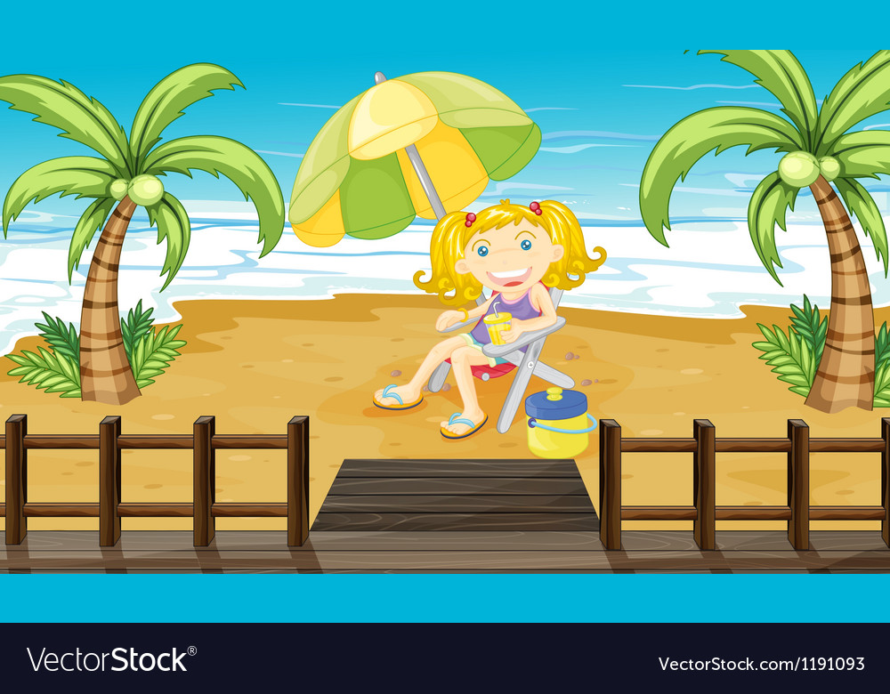A young girl relaxing at the beach vector | Price: 1 Credit (USD $1)