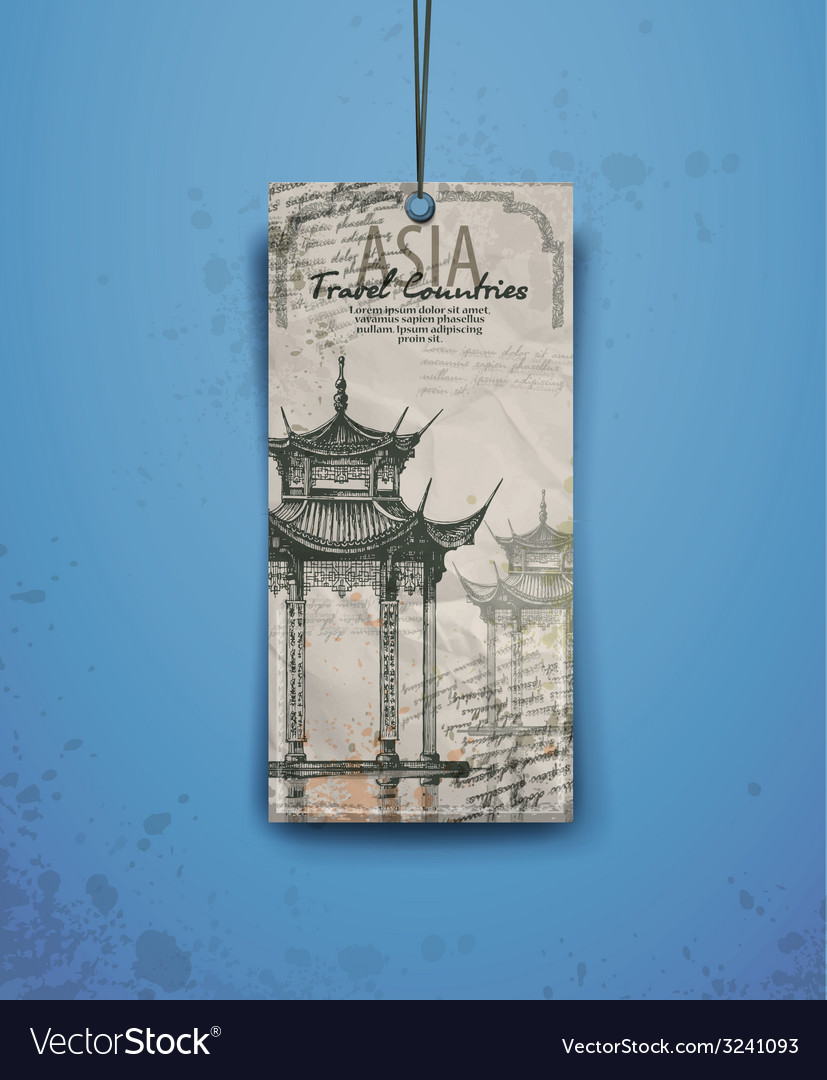 Asia pagoda and temple silhouette vector | Price: 1 Credit (USD $1)