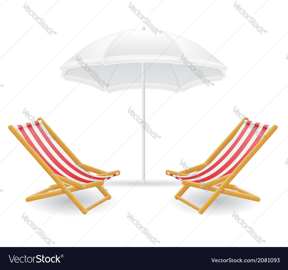 Beach chairs and parasol 01 vector | Price: 1 Credit (USD $1)