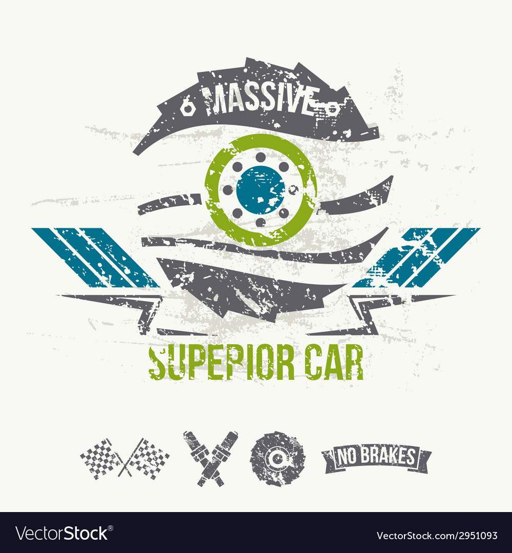 Emblem of the massive superior car in retro style vector | Price: 1 Credit (USD $1)