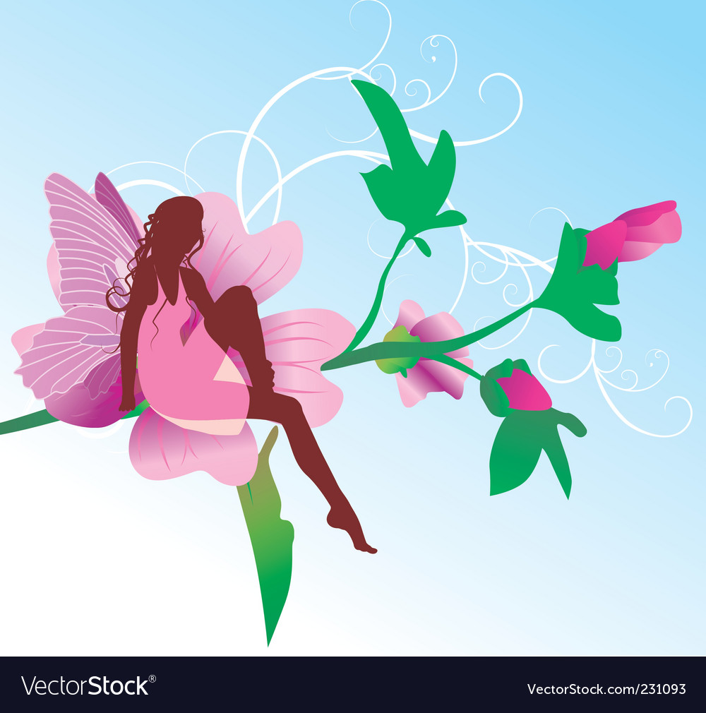 Fairy on pink flower sitting vector | Price: 1 Credit (USD $1)
