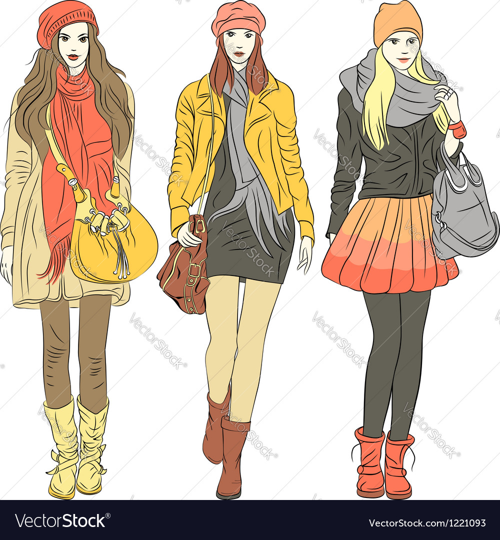 Fashion stylish girls in warm clothes vector | Price: 5 Credit (USD $5)
