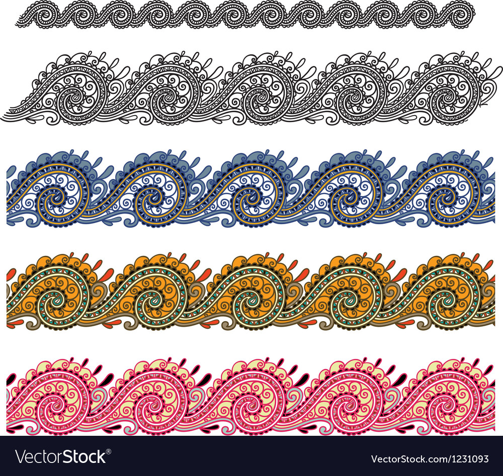 Five colored ornamental seamless pattern stripe vector | Price: 1 Credit (USD $1)