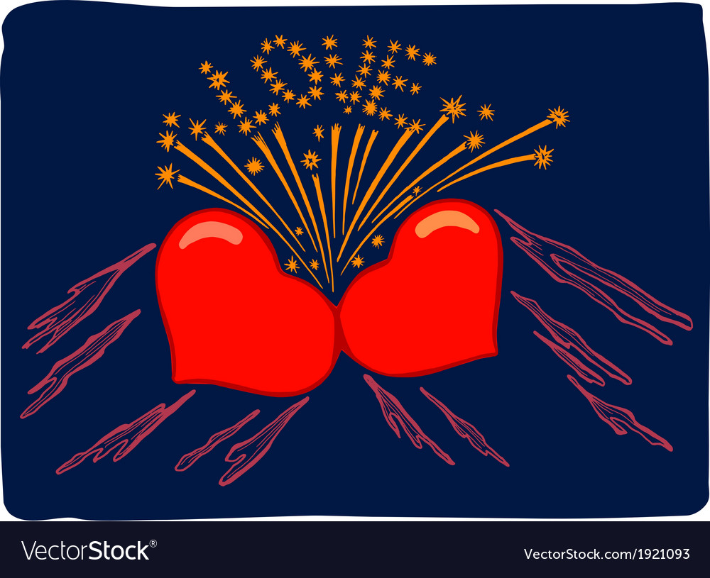 Flaming hearts vector | Price: 1 Credit (USD $1)