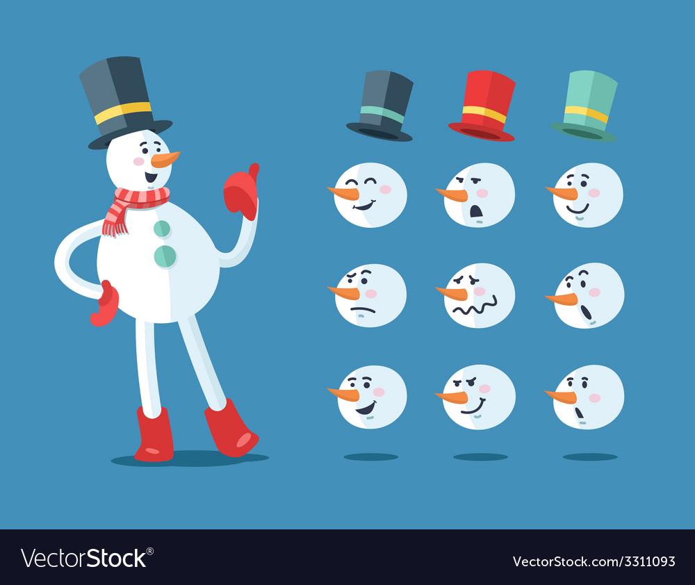 Funny snowman cartoon set vector | Price: 1 Credit (USD $1)