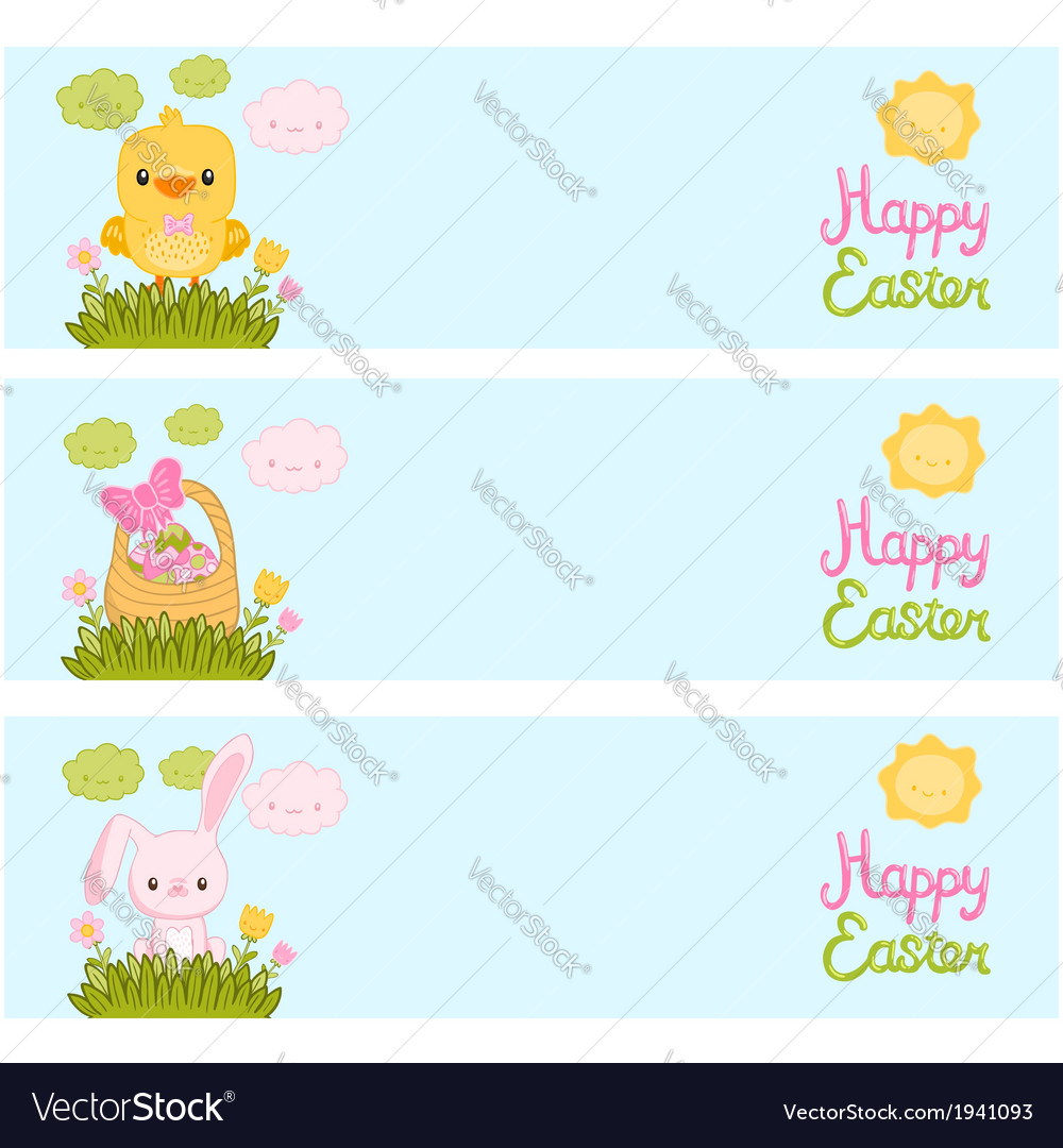 Happy easter background with cartoon cute bunny vector | Price: 1 Credit (USD $1)