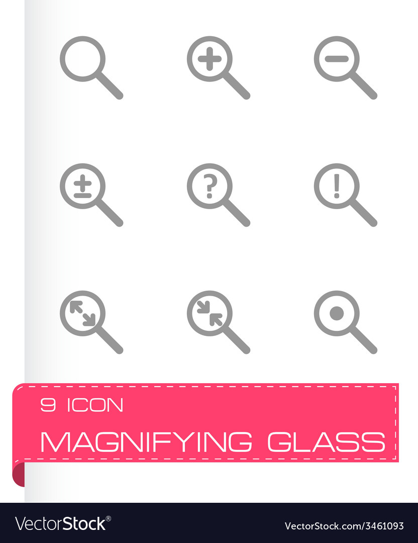 Magnifying glass icon set vector | Price: 1 Credit (USD $1)