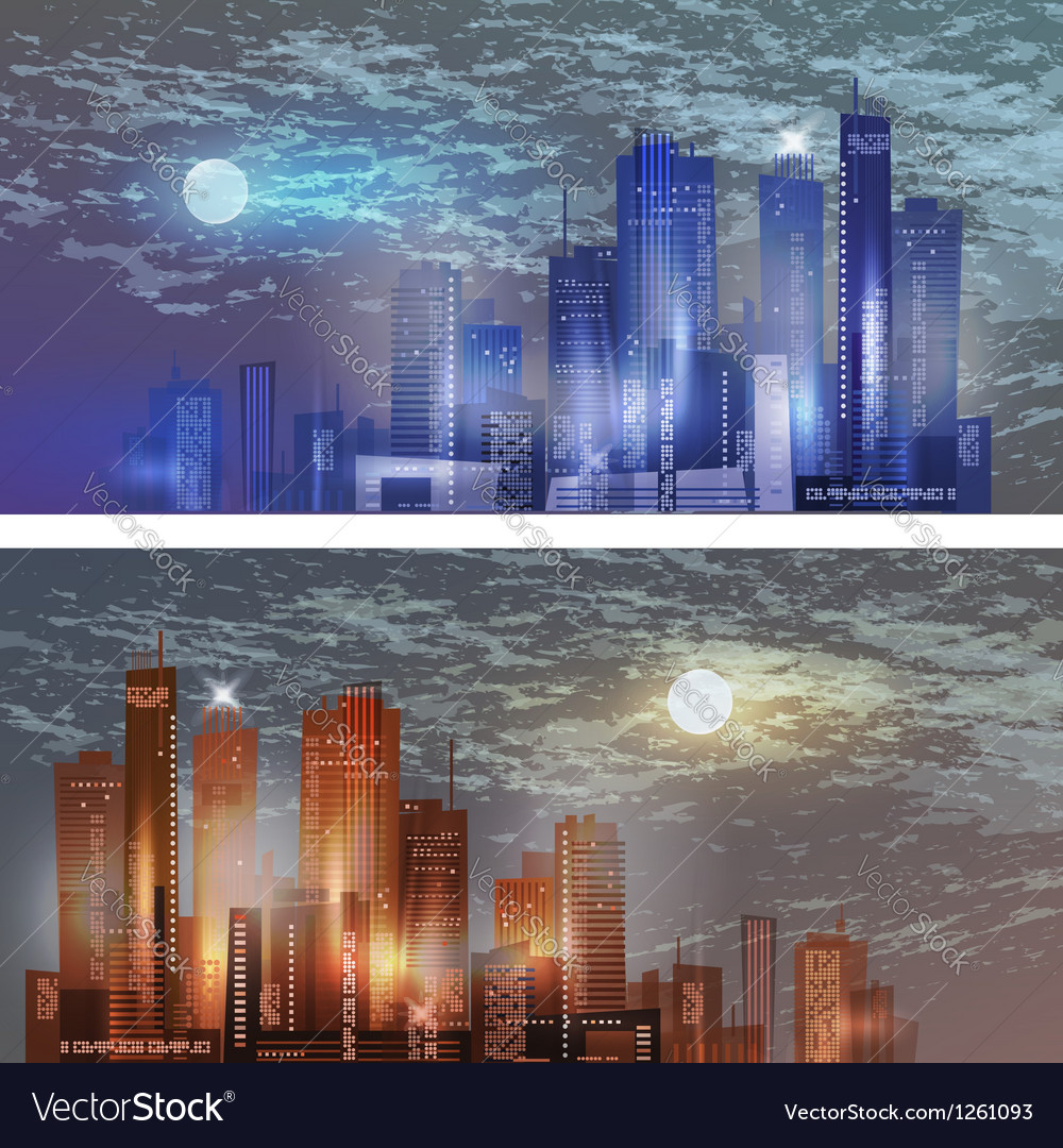 Modern city landscape in moonlight vector | Price: 1 Credit (USD $1)