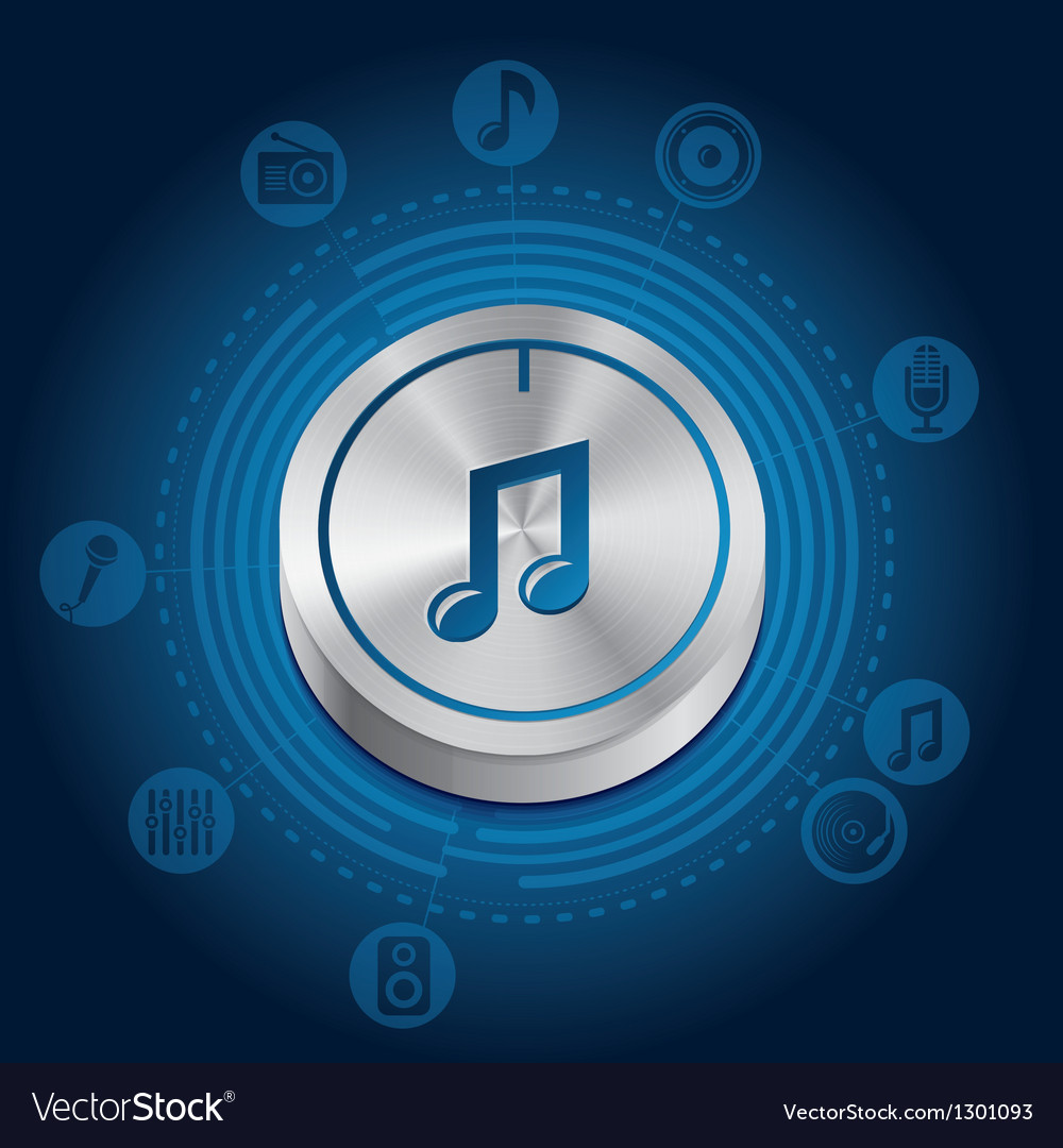 Music concept with metal button and icons vector | Price: 3 Credit (USD $3)
